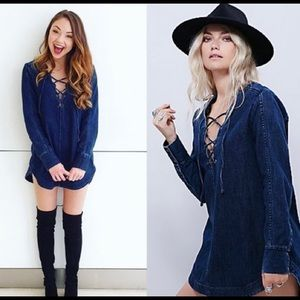 Free People Denim Lace Tunic